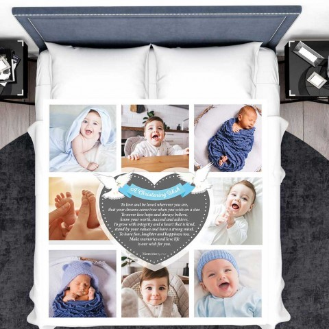 A Christening Wish Boy Photo Blanket