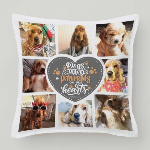 Dogs Leave Pawprints Photo Cushion